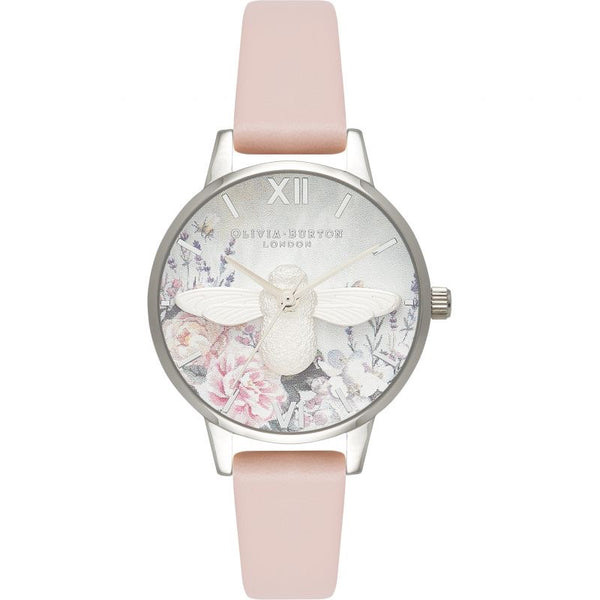Glasshouse 3D Bee Silver & Nude Peach Watch