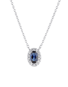 Silver Blue Cubic Zirconia Glow Necklace