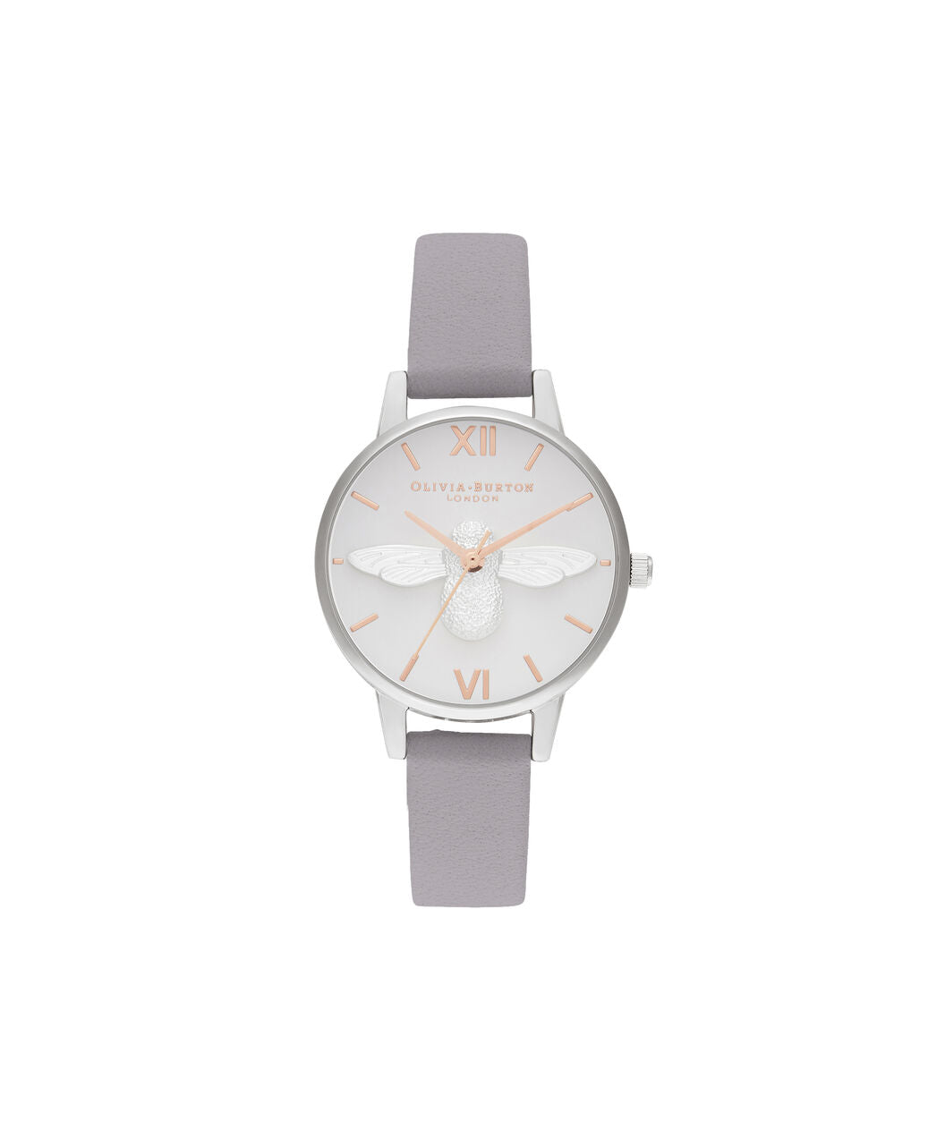 3D Bee Midi Dial Grey Lilac Rose Gold & Silver Watch