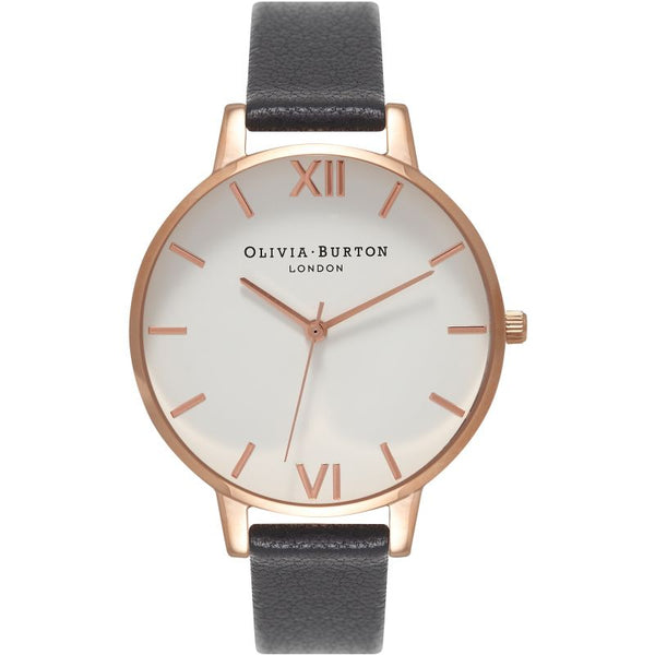 Contemporary Big Dial Black & Rose Gold Watch