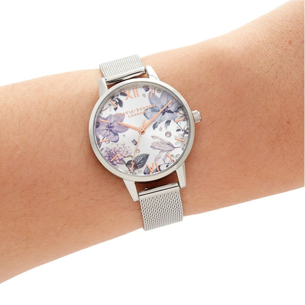Hand-Illustrated Floral Silver Mesh Watch