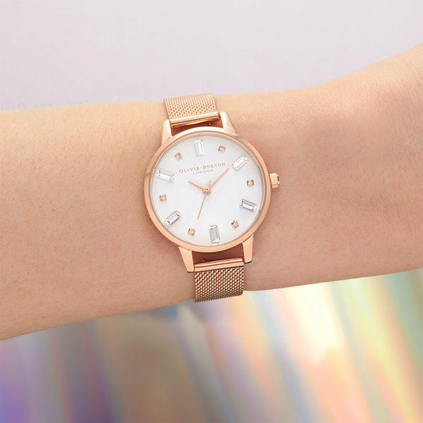 BeJewelled Rose Gold Mesh Watch