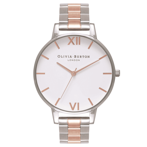 Simple Two Tone Metal Band Watch