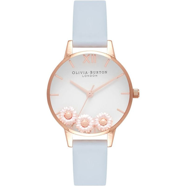 Pretty Daisy Rose Gold & Pale Blue Watch