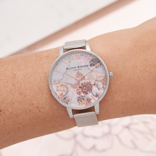 Marble Floral Rose Gold & Silver Mesh Watch