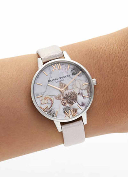 Marble Floral Rose Gold & Silver Watch