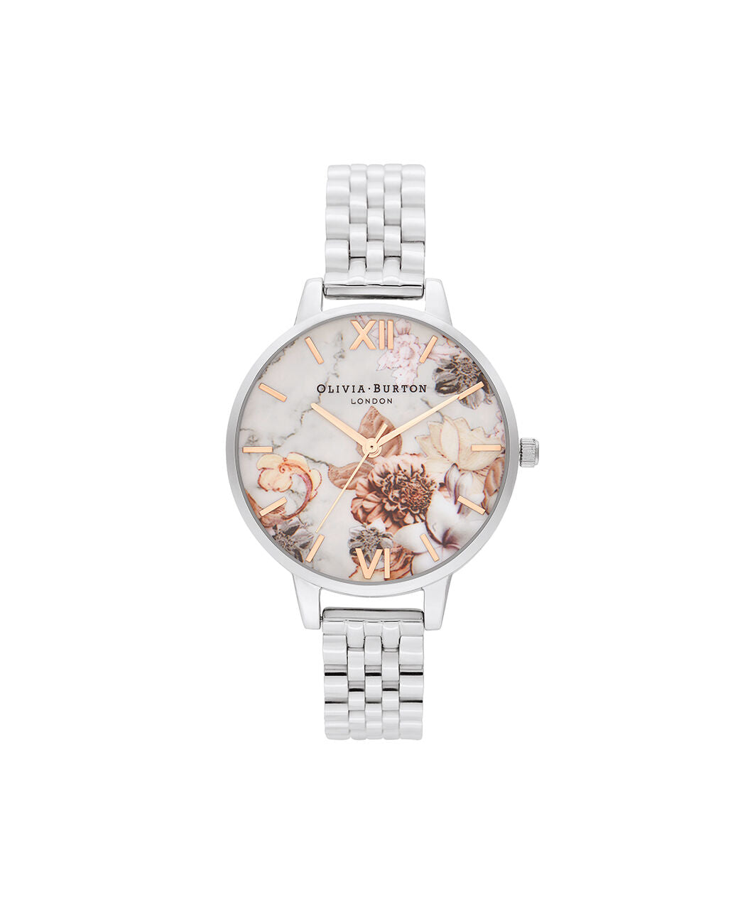Marble Florals Rose Gold & Silver Band Watch