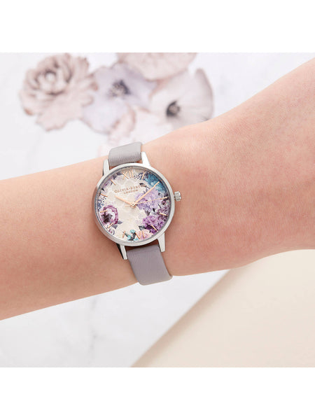 Hand-Illustrated Floral print Silver & Grey Watch