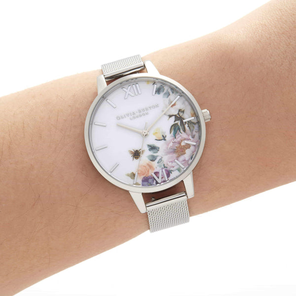 Floral Silver Mesh Watch