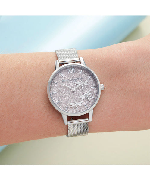 Dancing Dragonfly Blush Glitter Dial & Silver Mesh Watch