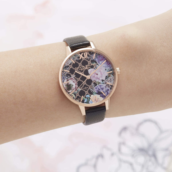 Hand Illustrated Floral Print Black & Rose Gold Watch