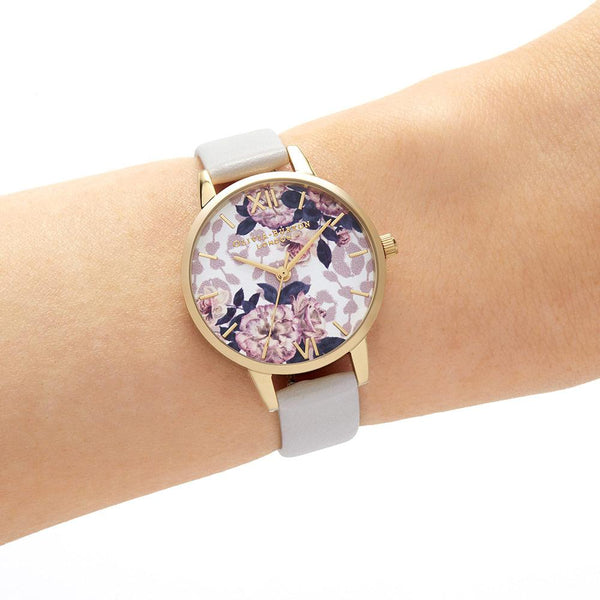 Watercolour-Painted Floral Gold & Grey Watch