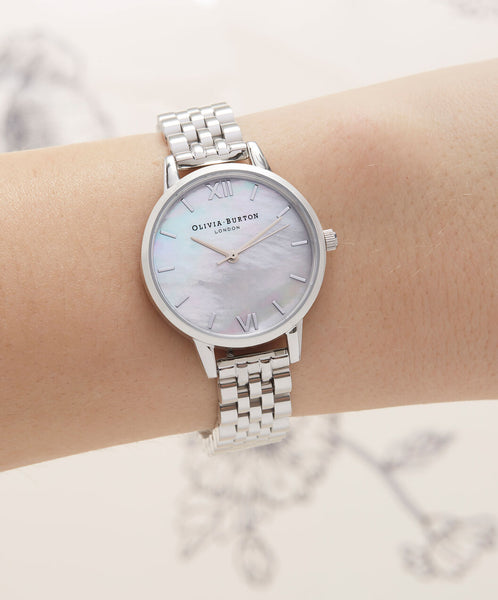 Mother of Pearl Silver Metal Link Watch