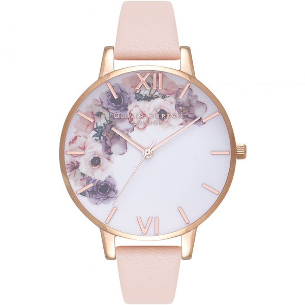 Watercolour Florals Rose Gold & Pale Pink Watch