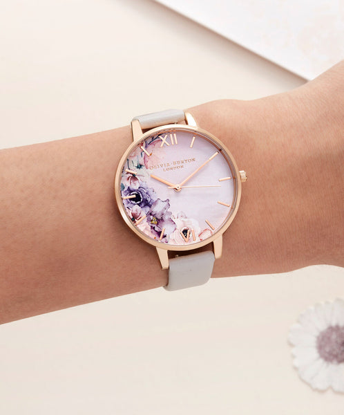 Watercolour Florals Rose Gold and Blush Watch
