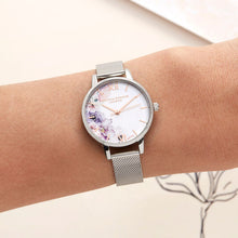 Load image into Gallery viewer, Watercolour Florals Silver Mesh Watch