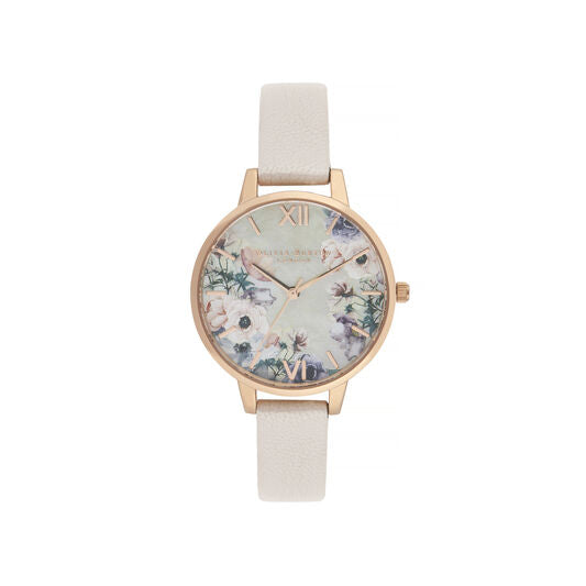 Watercolour-Painted Floral Rose Gold & Pearl Pink Watch