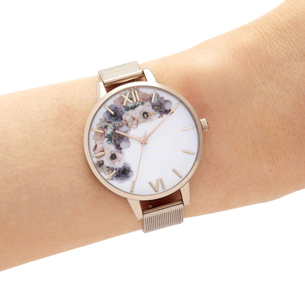 Watercolour Florals Rose Gold Watch
