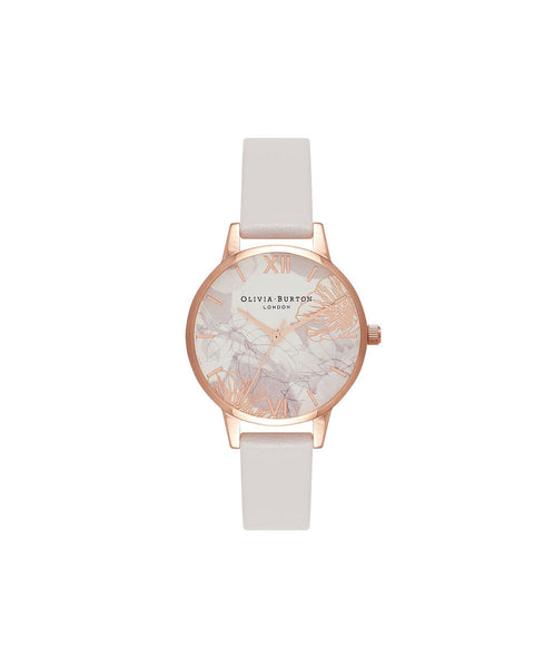 Ladies Abstract Florals Blush & Rose Gold Watch