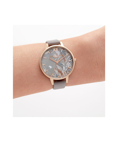 Abstract Grey Lilac & Rose Gold Florals Watch