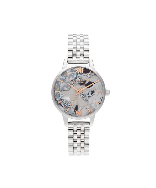 Abstract Florals Silver Metal Watch