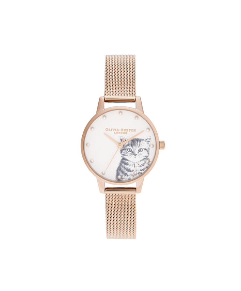 Illustrated Animals Pearly Kitten Rose Gold Mesh Watch