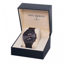 Load image into Gallery viewer, Chrono Black Sunray Rose Gold & Black Mesh Watch