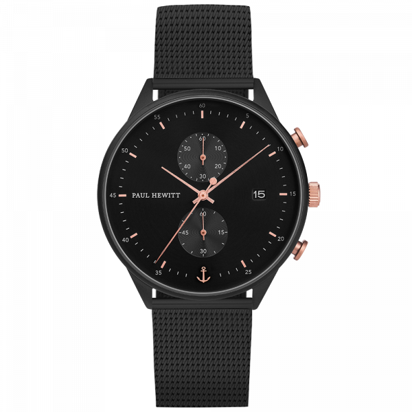 Chrono Black Sunray Rose Gold & Black Mesh Watch