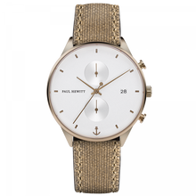 Load image into Gallery viewer, White Sand Bronze Canvas Desert Chrono Watch