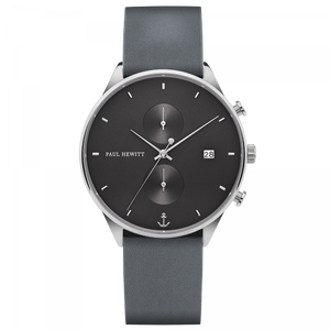 Chrono Midnight Ocean Silver Grey Leather Watch