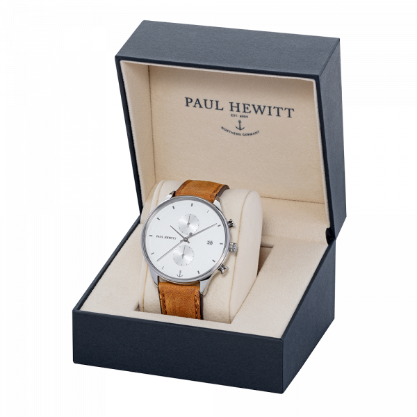 Chrono White Sand Silver Leather Mustard Watch