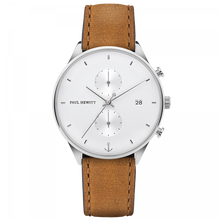 Load image into Gallery viewer, Chrono White Sand Silver Leather Mustard Watch