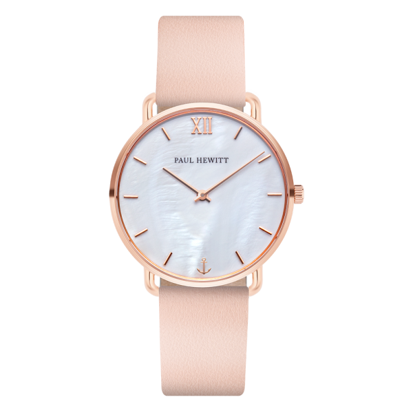 Miss Ocean Pearl Rose Gold Nude Leather Watch
