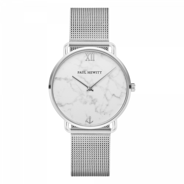 Miss Ocean Marble Silver Mesh Watch