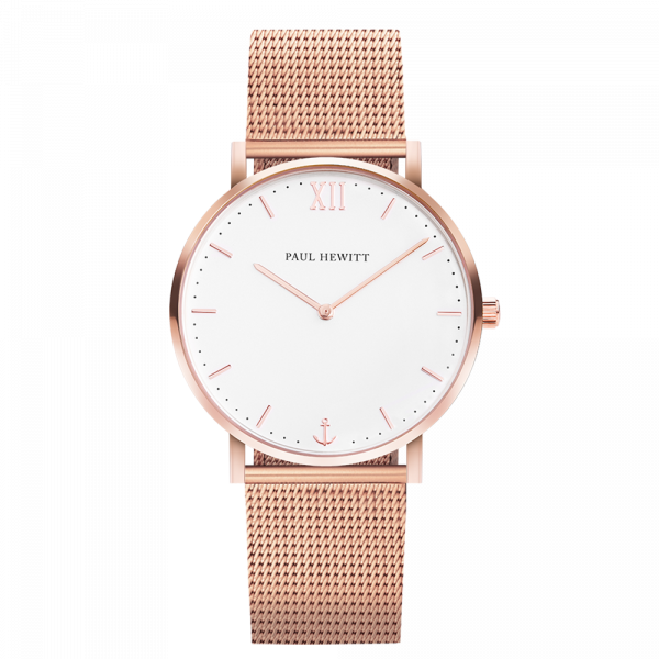 Sailor White Sand Rose Gold Mesh Watch