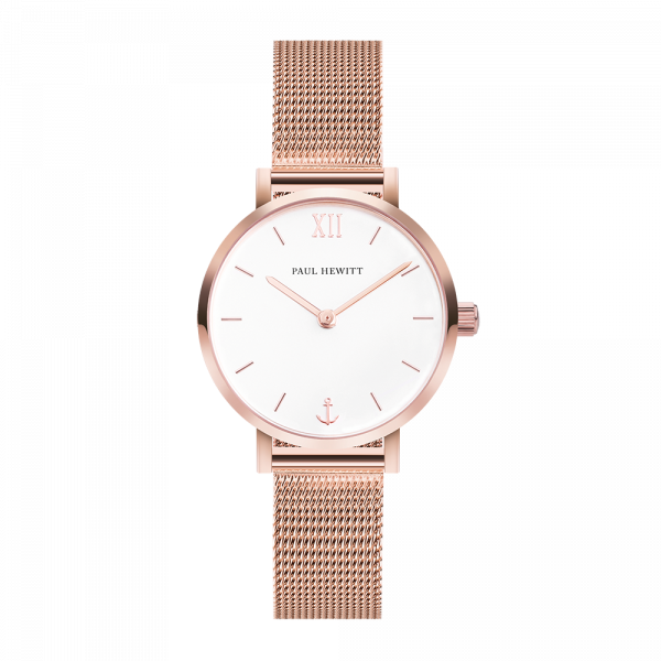 Modest White Sand Rose Gold Mesh Watch