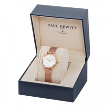 Load image into Gallery viewer, Modest White Sand Rose Gold Mesh Watch