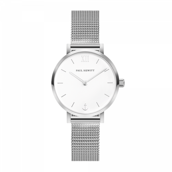 Modest White Sand Silver Mesh Watch
