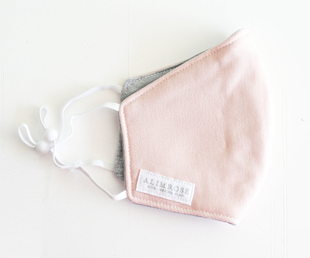 3 Layer Face Mask - Pink/Grey