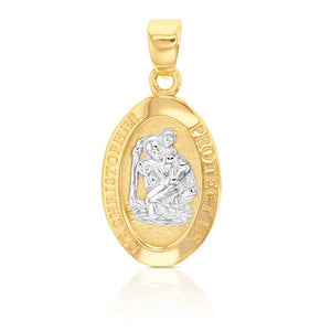 White and Yellow Gold St Christopher Pendant