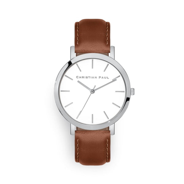 Silver & Tan Raw 43mm Watch