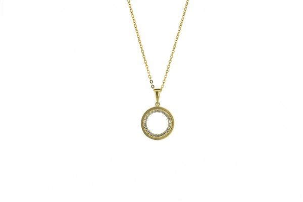 Yellow & Cubic Zirconia Open Circle Pendant