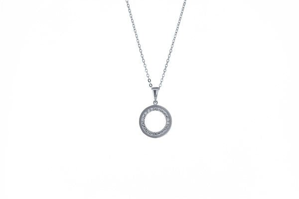 White Gold & Cubic Zirconia Open Circle Pendant
