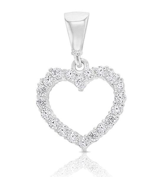 White Gold & Cubic Zirconia Open Heart Pendant
