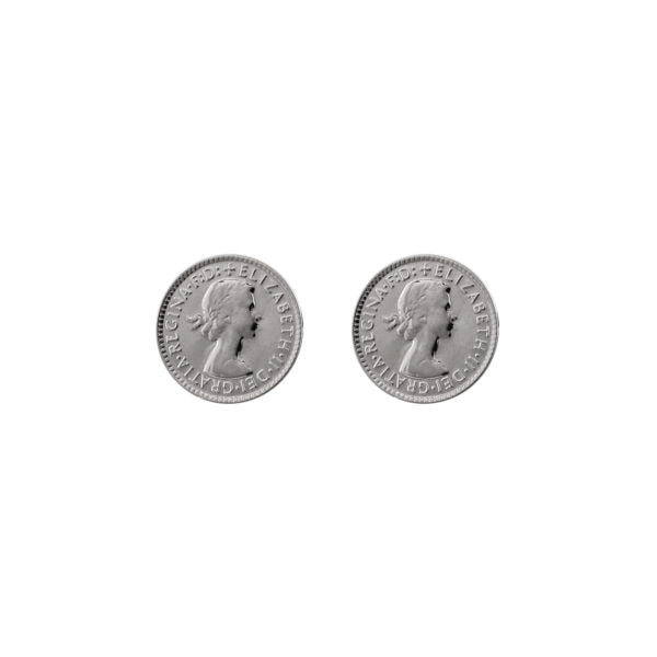 Silver Threepence Stud Earrings