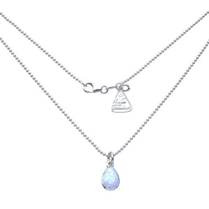 Pear White Czelline Opal Ball Chain Necklace
