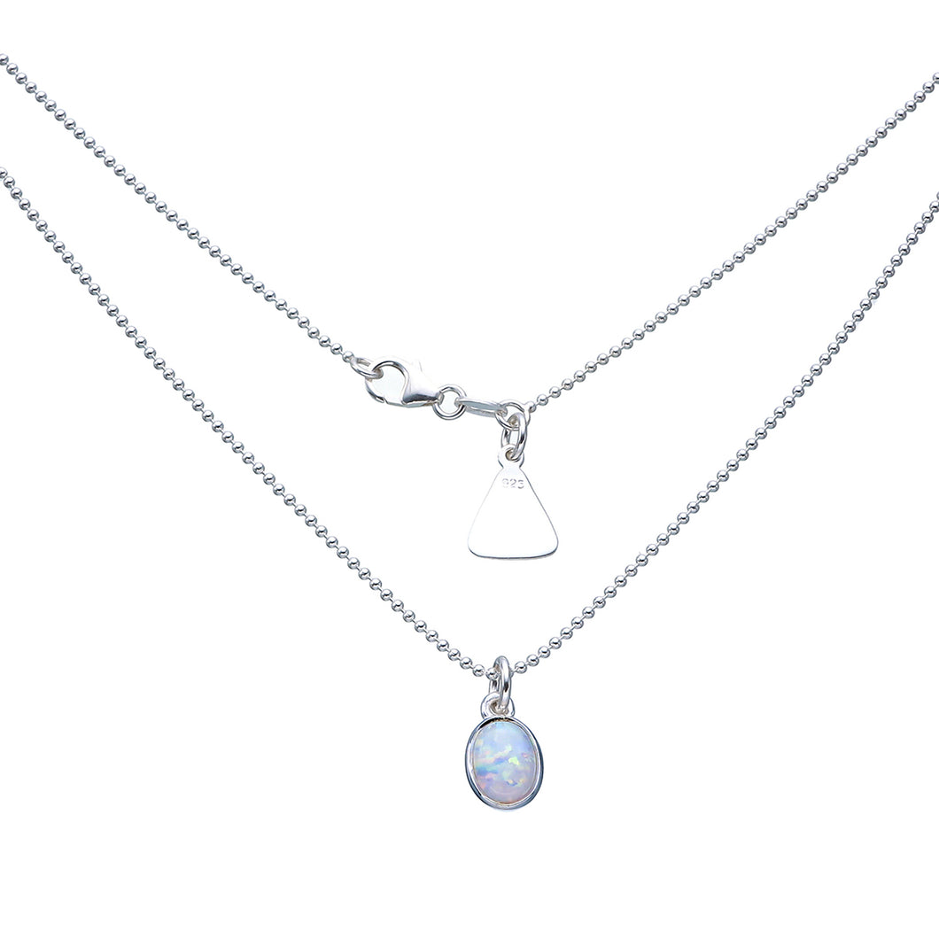 Oval White Czelline Opal Ball Chain Necklace