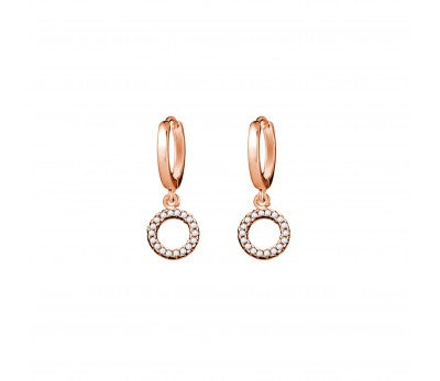 Open CZ Circle Drop Rose Gold Huggie Earrings