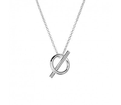 Silver Bar Circle Necklace