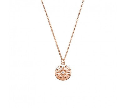 Rose Disc with Stars Necklace